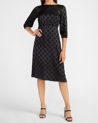 Express Jacquard Dot Puff Sleeve Midi Dress