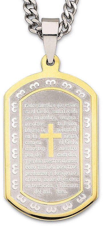 JCPenney FINE JEWELRY Spanish Lord's Prayer Dog Tag Stainless Steel