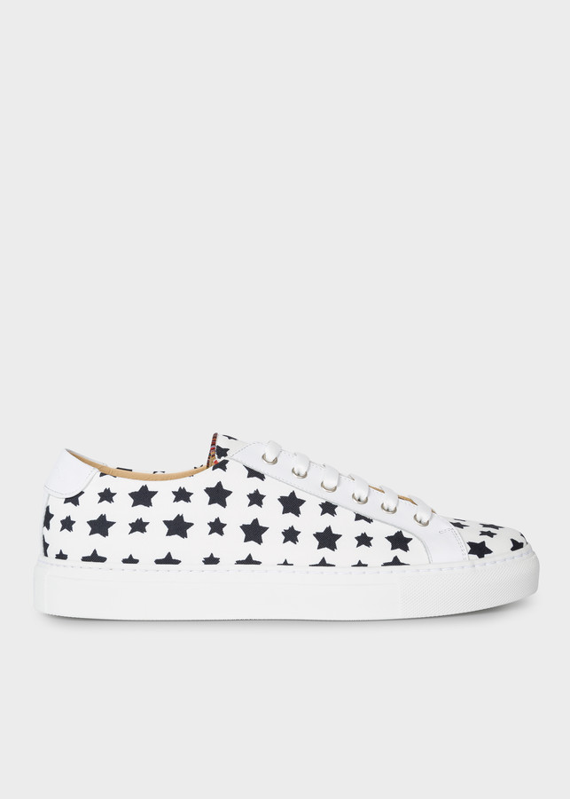 Paul Smith Men's White Canvas 'Star' 'Sotto' Sneakers