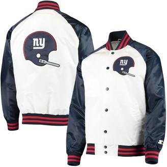 Men's Starter White/Navy New York Giants Clean Up Throwback Varsity Full-Snap Jacket