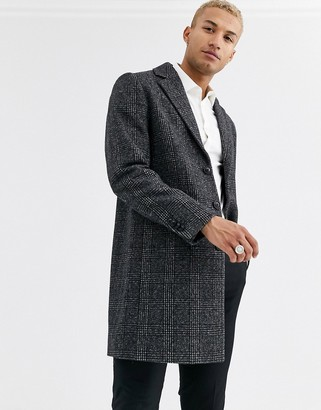 ASOS DESIGN wool mix overcoat in gray check