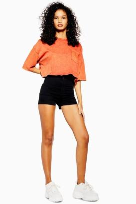 Topshop Womens Black Denim Joni Shorts - Black