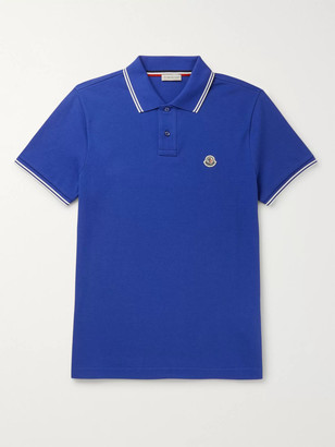 Moncler Slim-Fit Contrast-Tipped Logo-Appliqued Cotton-Pique Polo Shirt