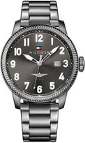 Tommy Hilfiger Men's Casual Sport Gray Ion-Plated Bracelet Watch 42mm 1791313