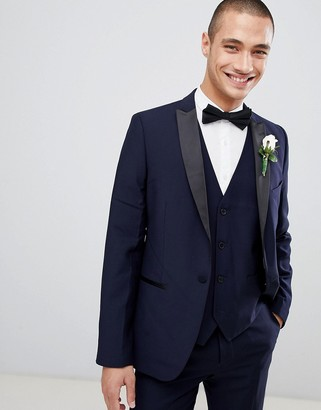 French Connection Slim Fit Peak Collar Tuxedo Jacket-Navy