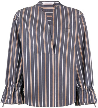 See by Chloe Striped V-Neck Cotton Blouse