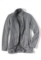 Lands' End Women's Petite Plush Sweater Fleece Parka-Soft Gray Heather