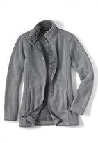 Lands' End Women's Plush Sweater Fleece Parka-Soft Gray Heather