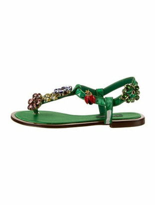 Dolce & Gabbana Crystal Embellishments T-Strap Sandals Green