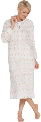 Stan Herman Petite Printed Silky Plush Robe with Sherpa Trim