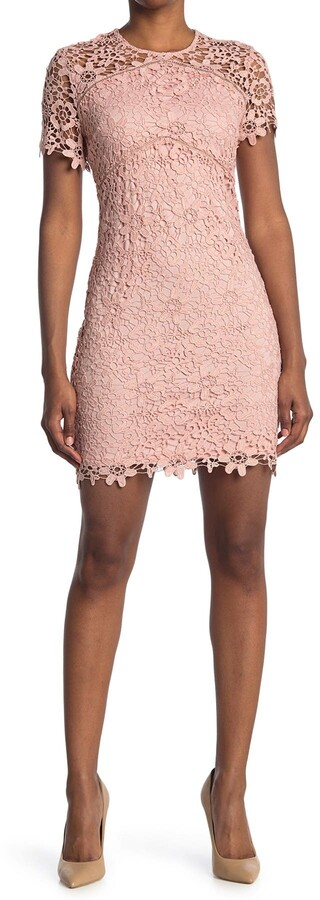 Bebe Chemical Lace Short Sleeve Dress