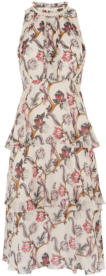 Whistles Bird Print Silk Tiered Dress