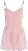Norma Kamali Stretch-tulle Swimsuit - Pastel pink