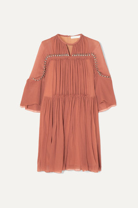 Chloé Embellished Gathered Silk-crepon Mini Dress - Taupe