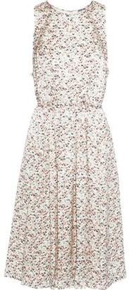 Jason Wu Tie-back Pleated Floral-print Silk-charmeuse Dress