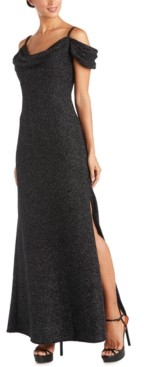 Night Way Nightway Cold-Shoulder Glitter Gown