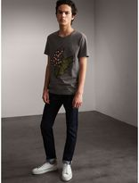 Burberry Flocked and Embroidered Beasts Print Cotton T-shirt