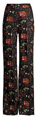 Etro Women's Largo Deer Print Wool & Silk Trousers