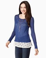 Charming charlie Comfy Day Lace Hem Pullover