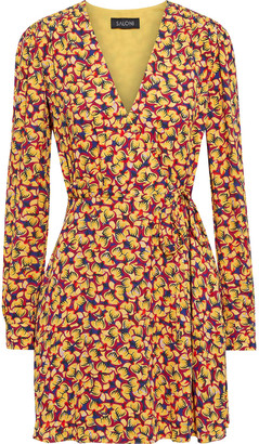 Saloni Lea Printed Crepe De Chine Mini Wrap Dress