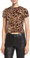 Alice + Olivia Deandrea Leopard-Print Cropped T-Shirt