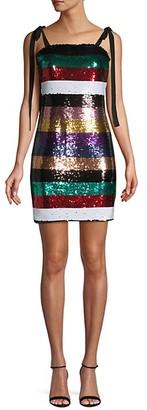 Lea & Viola Striped Sequin Mini Dress