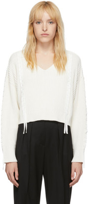 3.1 Phillip Lim White Cropped Weave Sweater