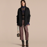 Burberry Cotton Blend Sweatshirt Jacket with Ruffle Sleeves