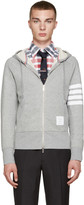Thom Browne Grey Zip-Up Hoodie