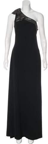 Carmen Marc Valvo One-Shoulder Evening Dress