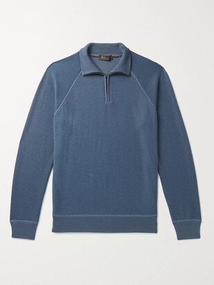 Loro Piana Ribbed Cashmere And Silk-Blend Half-Zip Sweater