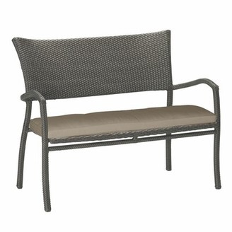 Summer Classics Skye Aluminum Garden Bench Frame Color: Skye #2 Black Walnut, Cushion Color: Linen