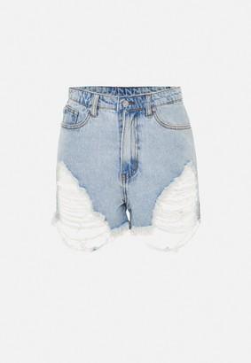 Missguided Plus Size Light Blue Highwaisted Distressed Denim Shorts