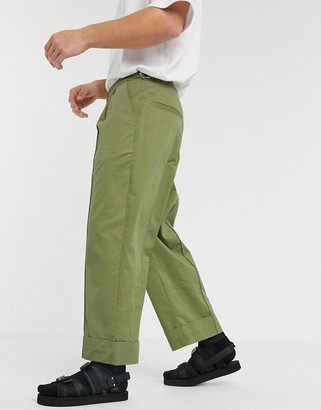 Asos wide leg pants with front crease in green