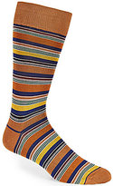 Bugatchi Mercerized Multi-Bar Striped Mid-Calf Socks