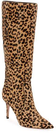 Gianvito Rossi Leopard-Print Calf Hair Knee Boots
