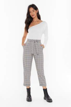 Nasty Gal Womens Plaid Hard to Get Tapered Tie Trousers - brown - 4