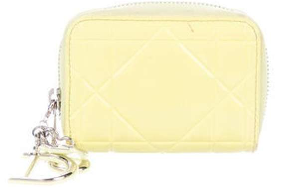 Christian Dior Patent Cannage Leather Compact Wallet Chartreuse Patent Cannage Leather Compact Wallet