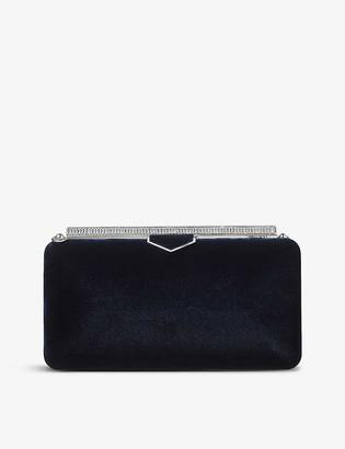 Jimmy Choo Ellipse crystal-embellished velvet clutch bag