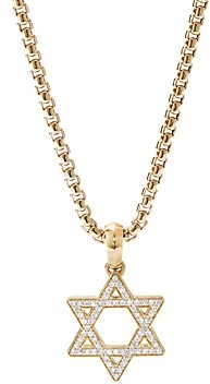 David Yurman 18K Yellow Gold Modern Renaissance Star of David Pendant with Diamonds