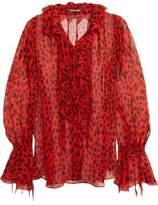 Roberto Cavalli Ruffled Leopard-Print Crinkled Silk-Chiffon Blouse
