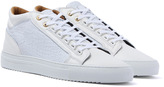 Android Homme Propulsion Mid White Textured Leather Trainers