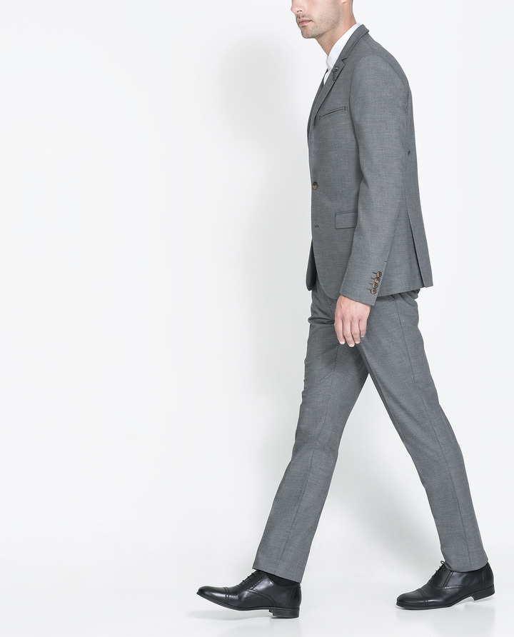 Zara Fashion Suit With Black Trim And Lion Pin