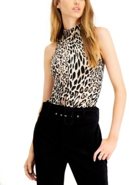 Bar III Cheetah-Print Sleeveless Mock Neck Bodysuit, Created for Macy's