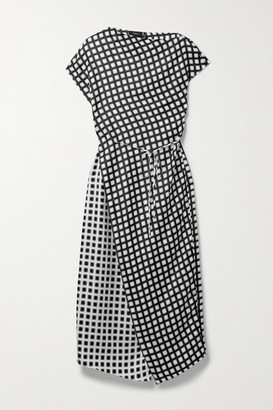 Theory Belted Wrap-effect Checked Silk-twill Midi Dress - Gray