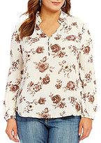 Blu Pepper Plus Floral Print Mandarin Collar Top