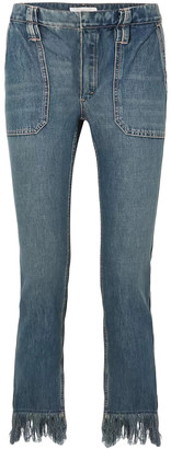 Chloé Cropped Fringed Mid-rise Slim-leg Jeans