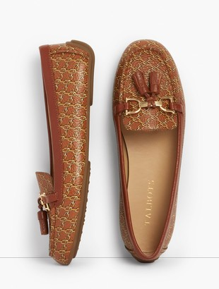 Talbots Everson Tasseled Pebbled Leather Driving Moccasins - Chainlink