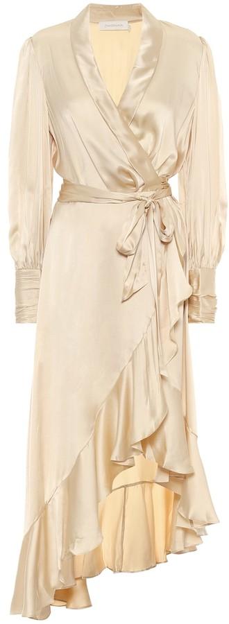Zimmermann Asymmetric silk satin midi dress