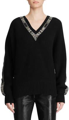 Ralph Lauren Crystal-Trimmed Cashmere Sweater